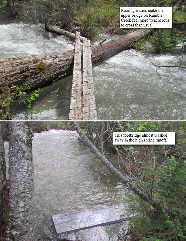 Roaring waters make the upper bridge on Rumble Creek feel more treacherous to cross than usual. This footbridge almost washed away in the high spring runoff.