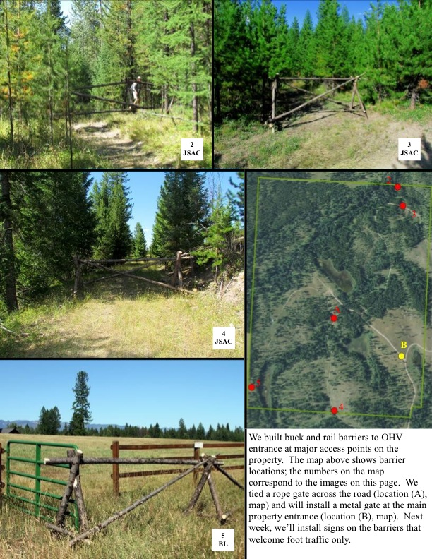 We built buck and rail barriers to OHV entrance at major access points on the property. The map above shows barrier locations; the numbers on the map correspond to the images on this page. We tied a rope gate across the road (location (A), map) and will install a metal gate at the main property entrance (location (B), map). Next week, we'll install signs on the barriers that welcome foot traffic only.