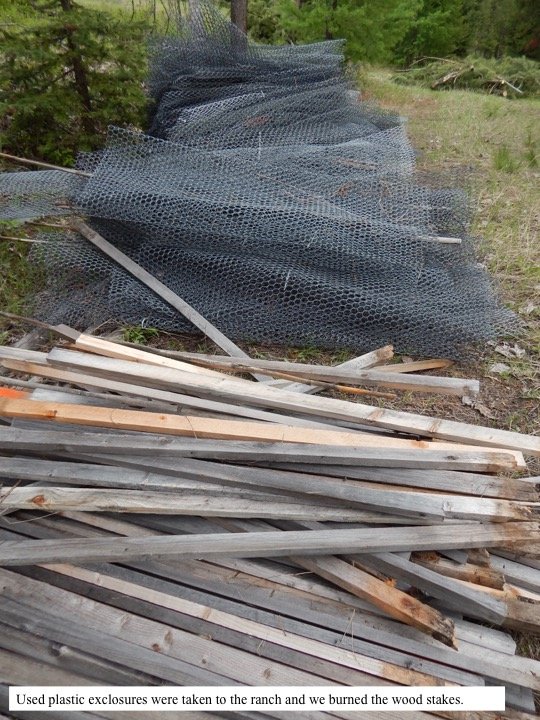 Used plastic exclosures were taken to the ranch and we burned the wood stakes.