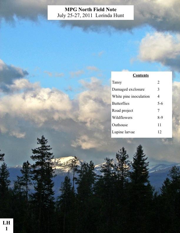MPG North Field Note July 25-27, 2011 Lorinda Hunt